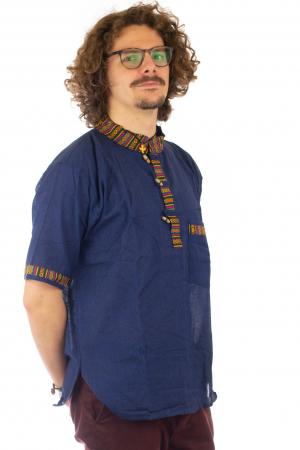 Camasa lejera de vara - Etno - Albastru Inchis2