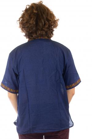 Camasa lejera de vara - Etno - Albastru Inchis4