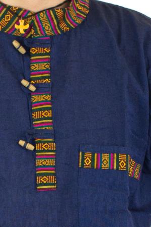 Camasa lejera de vara - Etno - Albastru Inchis1