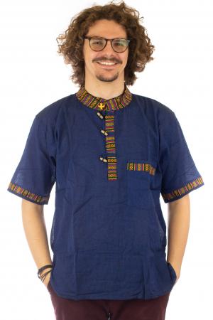 Camasa lejera de vara - Etno - Albastru Inchis0