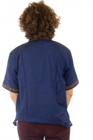 Camasa lejera de vara - Etno - Albastru Inchis3