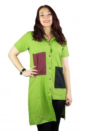Camasa lunga asimetrica - Verde0