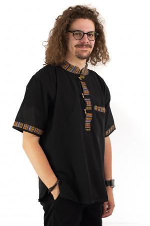 Camasa neagra cu maneca scurta - Motive etno [2]