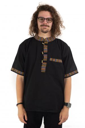 Camasa neagra cu maneca scurta - Motive etno [1]