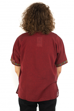 Camasa rosie cu maneca scurta - Motive etno [3]