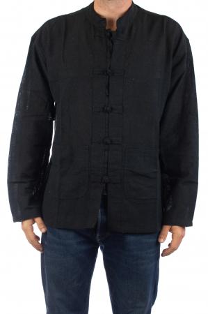 Camasa cu nod chinezesc - Chinese knot shirt - Neagra0