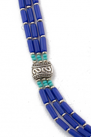 Colier 3 randuri blue V0072