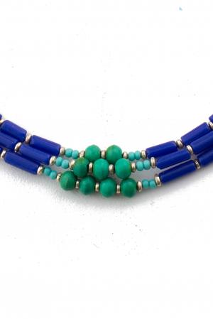 Colier 3 randuri blue V0071