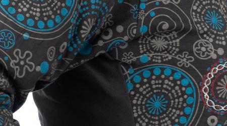 Jacheta de bumbac cu fermoar, print abstract – Negru si Albastru2