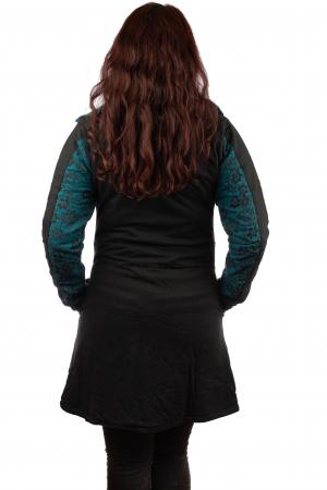Jacheta femei din bumbac - Teal & Black4