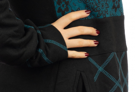 Jacheta femei din bumbac - Teal & Black3