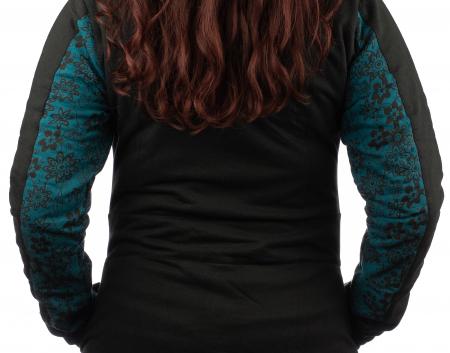 Jacheta femei din bumbac - Teal & Black5