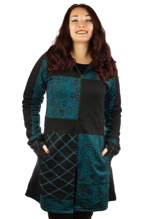 Jacheta femei din bumbac - Teal & Black0