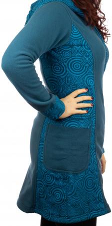 Jacheta femei bumbac si polar albastra3