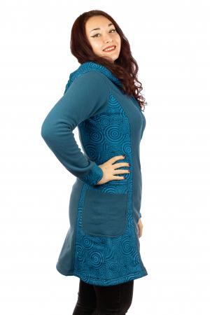 Jacheta femei bumbac si polar albastra2