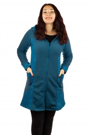 Jacheta femei bumbac si polar albastra0