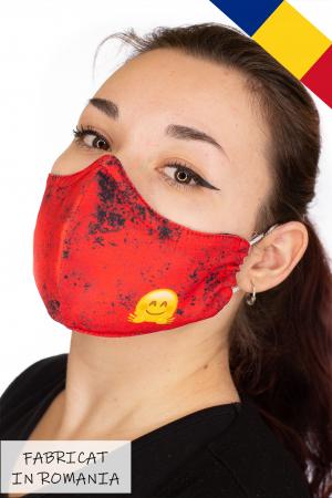 Masca bumbac cu filtru pentru adulti - Smiley Rosu2