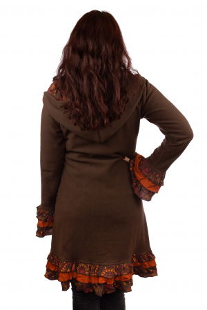 Jacheta femei - Marime M - Maro cu portocaliu2