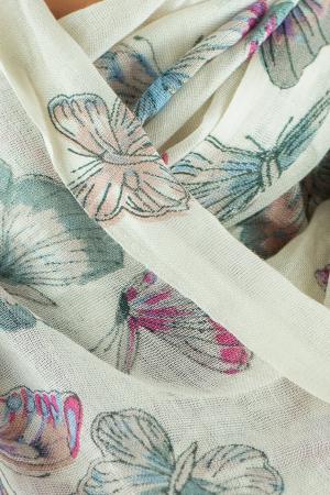 Esarfa subtire colorata - Butterfly - Alb1