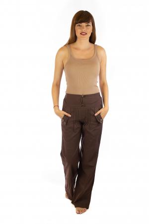 Pantaloni cu buzunare si nasturi - Maro0