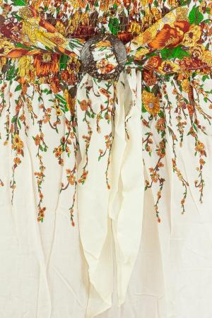 Fusta de vara cu catarama - Floral - Alb1