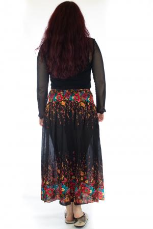 Fusta de vara cu catarama - Floral - Negru [3]