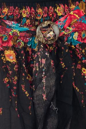 Fusta de vara cu catarama - Floral - Negru [1]