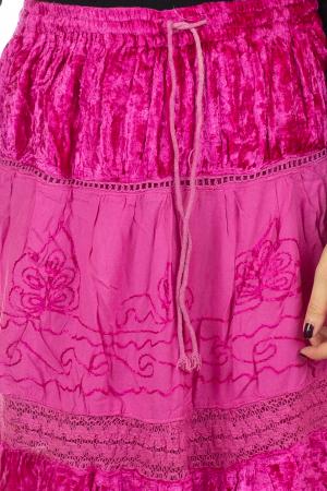Fusta din bumbac si catifea cu volane - Pink [2]
