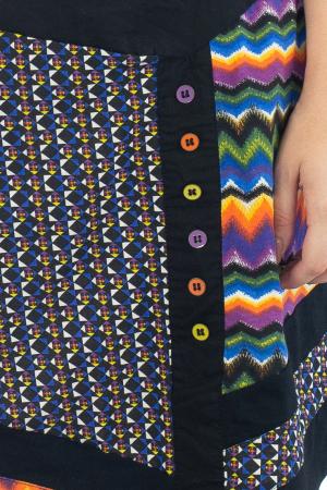 Fusta scurta colorata - Geometric - Black - JU144855
