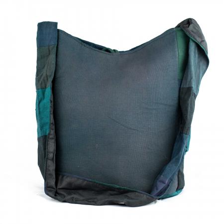 Geanta din bumbac - Verde cu negru2