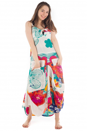 Rochie de plaja lejera - Alba - Floral HI1494A1