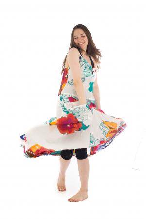 Rochie de plaja lejera - Alba - Floral HI1494A5