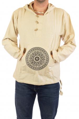 Hanorac cu print - OM Mandala - Alb [2]