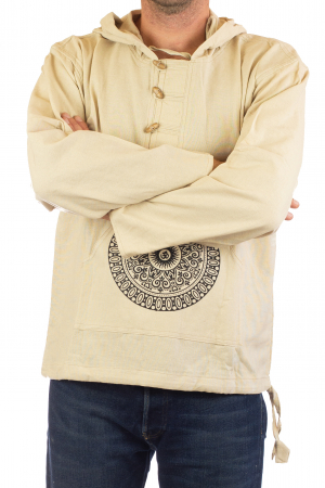 Hanorac cu print - OM Mandala - Alb [3]