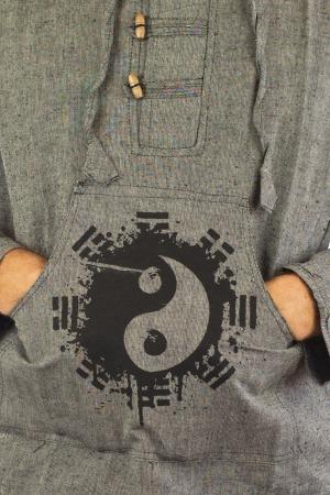 Hanorac cu print - Ying Yang - Gri [3]