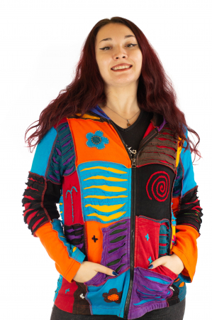 Hanorac din bumbac multicolor cu patch si broderie - Model 30