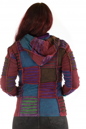 Hanorac din bumbac multicolor cu patch si broderie - Model 42
