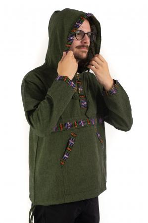 Hanorac ethnic din bumbac subtire - Green [3]