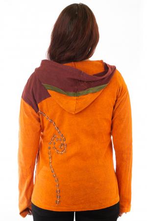Hanorac portocaliu razor cut - Floare2