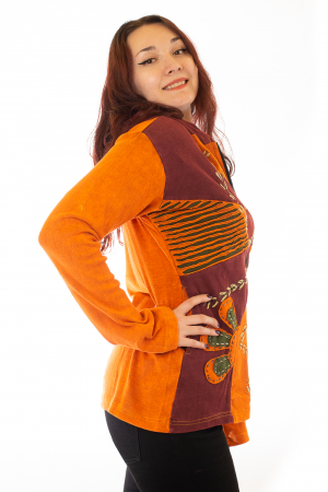 Hanorac portocaliu razor cut - Floare1
