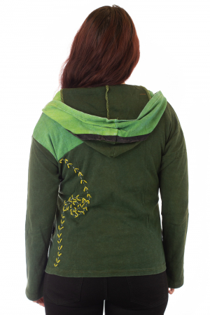 Hanorac verde razor cut - Flower2