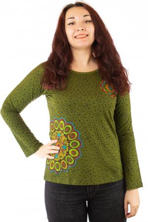 Bluza maneca lunga verde cu mandale BG-6010
