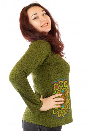 Bluza maneca lunga verde cu mandale BG-6011