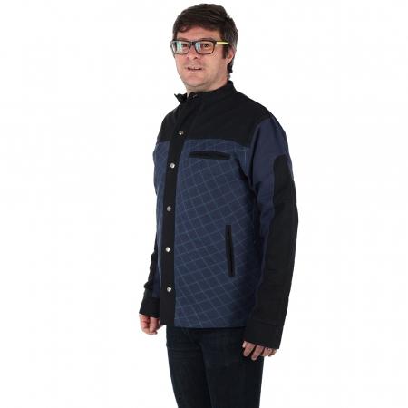 Jacheta barbateasca din bumbac, albastru - Geometric MIC DEFECT3
