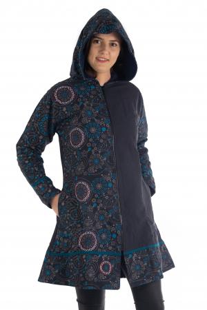 Jacheta de bumbac print abstract – Negru si Albastru JACKET035