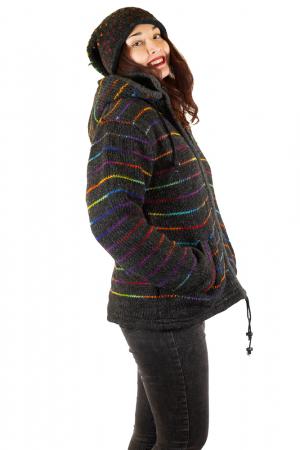 Jacheta de lana - Rainbow Lines1