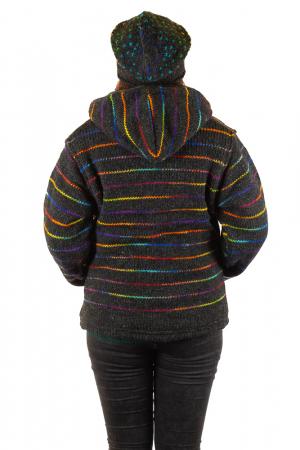 Jacheta de lana - Rainbow Lines2