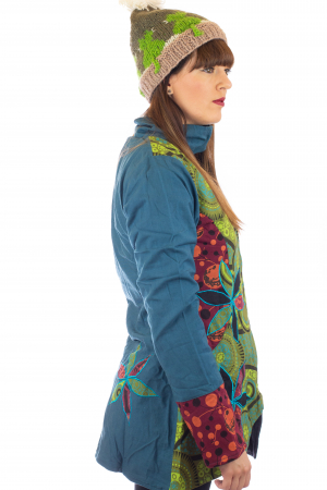 Jacheta de toamna cu broderie - Albastru [4]