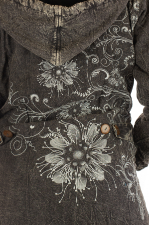 Jacheta de toamna cu print floral - Gri4
