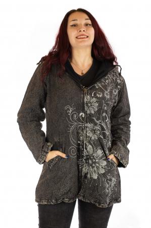 Jacheta din bumbac, brodata si captusita cu polar - Gri0